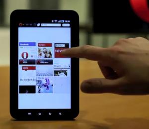 Opera webbläsare i en Galaxy Tab