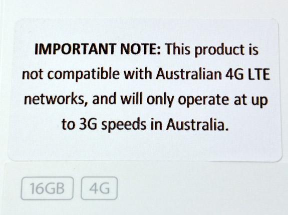 Varningsklistermärke på kartongen för nya iPad 3:s 4G i Australien